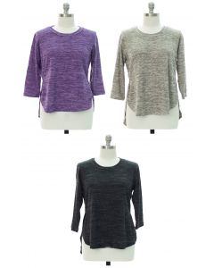 Plus High Low Hacci Top - Assorted