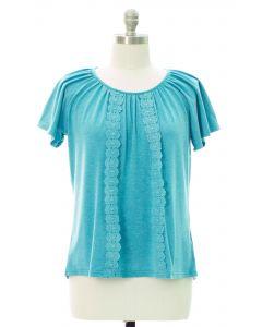 Plus Crochet Front Top - Blue