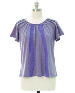 Plus Crochet Front Top - Violet