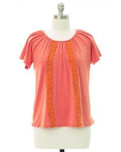 Plus Crochet Front Top - Orange