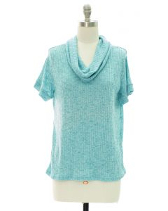Cowl Neck Hacci Top - Turquoise