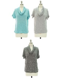 Cowl Neck Hacci Top - Assorted
