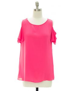 Cold Shoulder Blouse - Fuschia