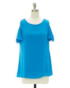 Cold Shoulder Blouse - Turquoise