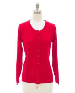 Brushed Sweater Knit Crew Neck Cardigan - Red