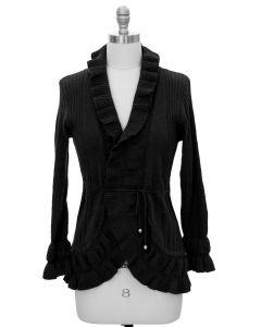 Ruffle Cardigan Sweater - Black