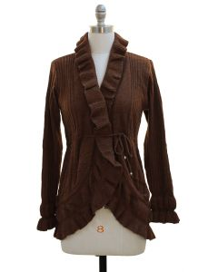 Ruffle Cardigan Sweater - Brown