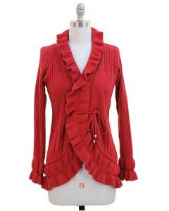 Ruffle Cardigan Sweater - Red