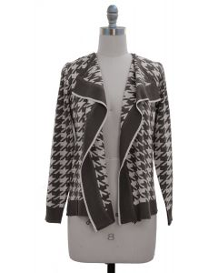 Houndstooth Print Cardigan - Taupe
