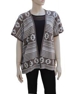 Tribal Pattern Cardigan - Taupe