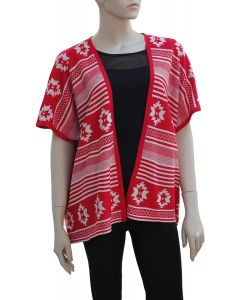 Tribal Pattern Cardigan - Red