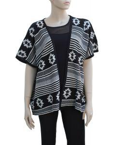 Tribal Pattern Cardigan - Black