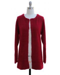 Solid Sweater Coat - Wine