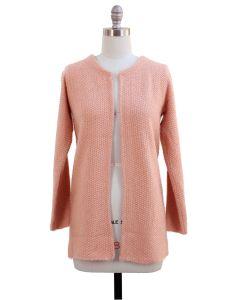 Solid Sweater Coat - Peach