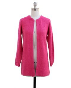 Solid Sweater Coat - Hot Pink