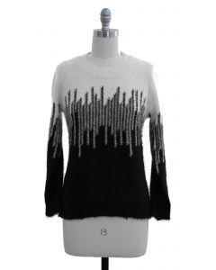 Colorblock Eyelash Sweater - Black