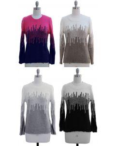 Colorblock Eyelash Sweater - 24 pcs