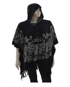 Plus Boho Hooded Cape - Black