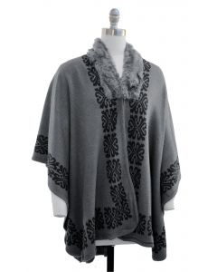 Ornate Faux Fur Collar Cape - Charcoal