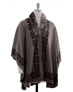 Ornate Faux Fur Collar Cape - Taupe