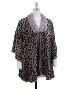 Leopard Faux Fur Collar Cape - Taupe