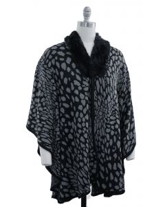 Leopard Faux Fur Collar Cape - Black