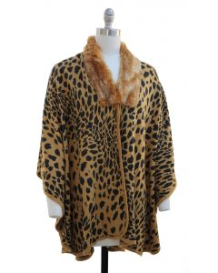 Leopard Faux Fur Collar Cape - Camel