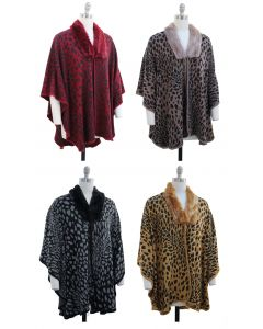 Leopard Faux Fur Collar Cape - Asst
