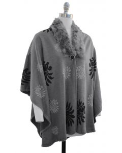 Floral Faux Fur Collar Cape - Charcoal