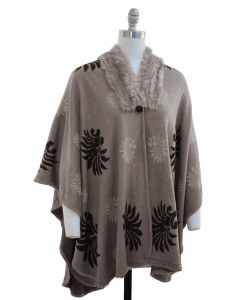 Floral Faux Fur Collar Cape - Taupe