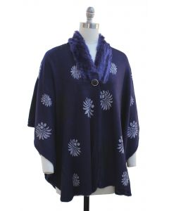 Floral Faux Fur Collar Cape - Navy