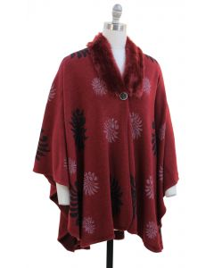 Floral Faux Fur Collar Cape - Wine