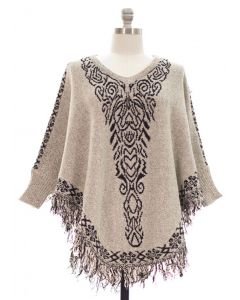 Plus Sweater Knit Tribal Fringe Poncho w Sleeves - Taupe