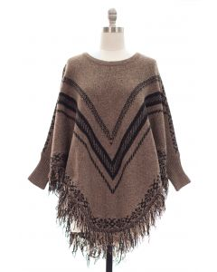 Plus Sweater Knit V Stripe Fringe Poncho w Sleeves - Brown