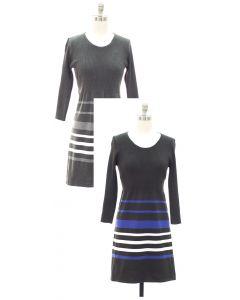 Fine Gauge Border Sripe Sweater Dress - Asst