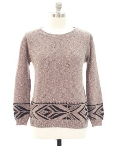 Plus Marled Long Sleeve Border Tribal Sweater - Taupe