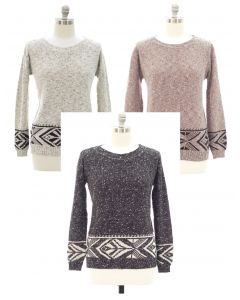 Plus Marled Long Sleeve Border Tribal Sweater - Asst