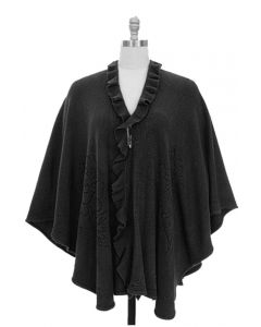 Plus Solid Ruffle Cape - Taupe