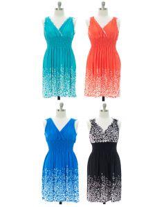 Plus Printed Surplice Midi Dress - Assorted