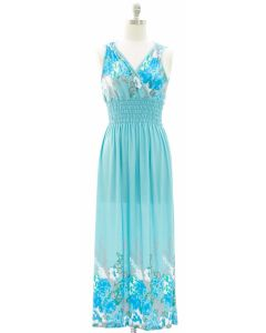 1 Floral Printed Surplice Maxi - Turquoise