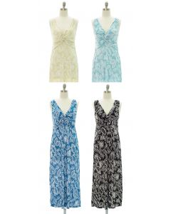Leaf Knot Front Maxi Dress - Assorted