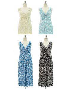 Plus Leaf Knot Front Maxi Dress - Assorted