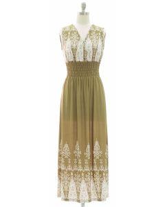 1 Indian Smock Waist Maxi Dress - Olive