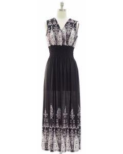 1 Indian Smock Waist Maxi Dress - Black