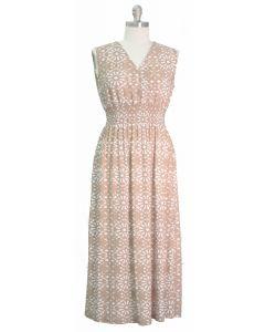 Plus Ditsy Smock Waist Maxi Dress - Taupe