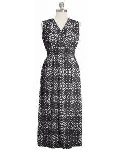 Plus Ditsy Smock Waist Maxi Dress - Black