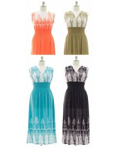 Plus Indian Smock Waist Maxi Dress - Assorted