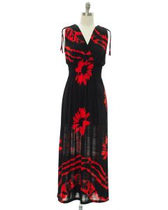 Floral Double V Surplice Maxi Dress - Red