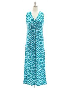 Ikat Knot Front Maxi Dress - Turquoise