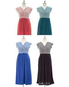Plus Surplice Tie Back Maxi Dress - Assorted